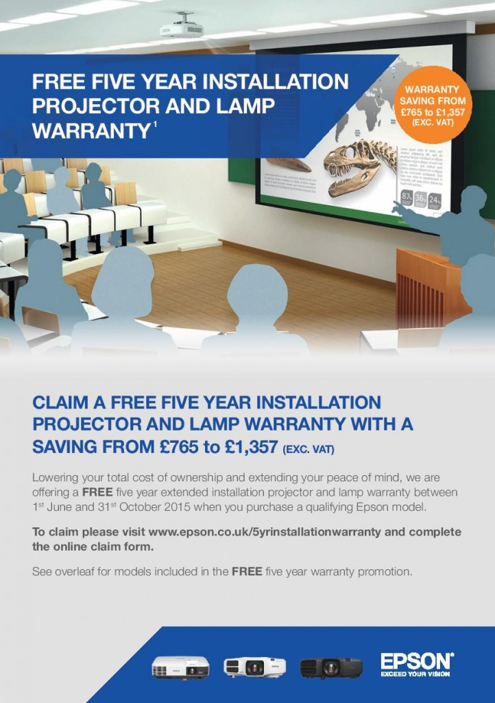 EPSON 5 year projector warranty